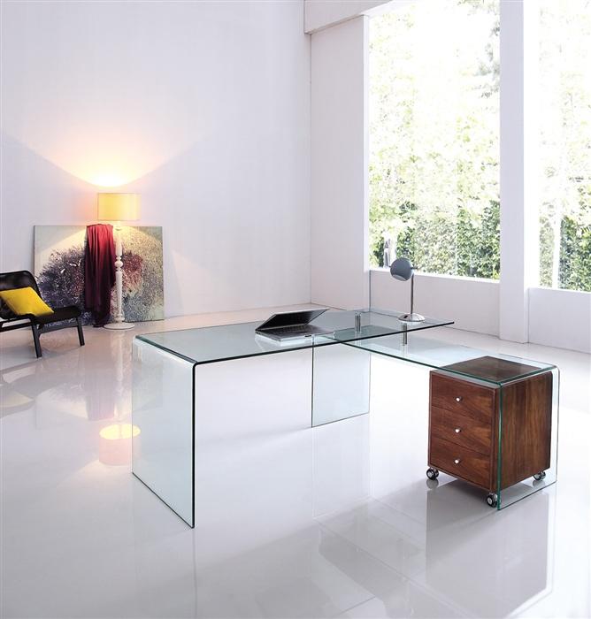 Mesa oficina france cristal con ala cisa equipamiento de for Mesa cristal oficina