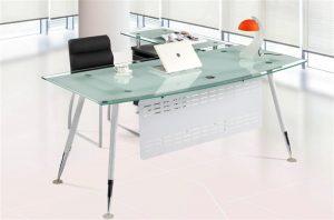 Mesa Oficina France cristal con ala | CISA Equipamiento de Edificios